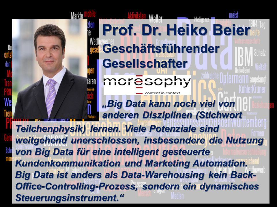 4 BigData AnalyticsPanel-Diskussion DMS EXPO 2013Moderation Dr.