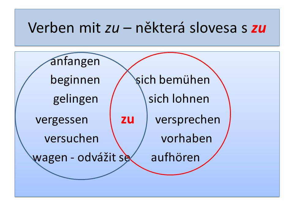 Verben mit zu – některá slovesa s zu anfangen beginnen sich bemühen gelingen sich lohnen vergessen zu versprechen versuchen vorhaben wagen - odvážit s