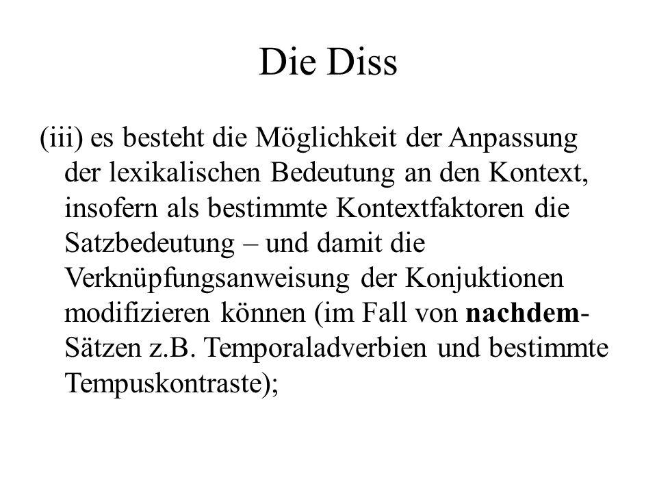 Die Diss (iii) es besteht die Möglichkeit der Anpassung der lexikalischen Bedeutung an den Kontext, insofern als bestimmte Kontextfaktoren die Satzbed