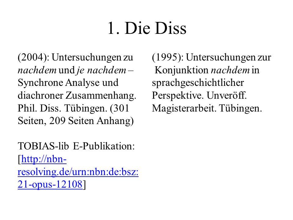 1. Die Diss (2004): Untersuchungen zu nachdem und je nachdem – Synchrone Analyse und diachroner Zusammenhang. Phil. Diss. Tübingen. (301 Seiten, 209 S