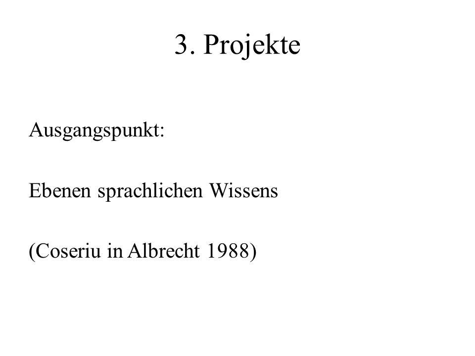 3. Projekte Ausgangspunkt: Ebenen sprachlichen Wissens (Coseriu in Albrecht 1988)