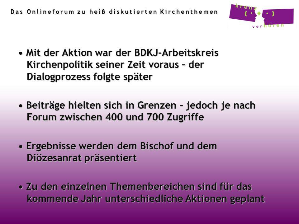 Mit der Aktion war der BDKJ-Arbeitskreis Kirchenpolitik seiner Zeit voraus – der Dialogprozess folgte später Mit der Aktion war der BDKJ-Arbeitskreis