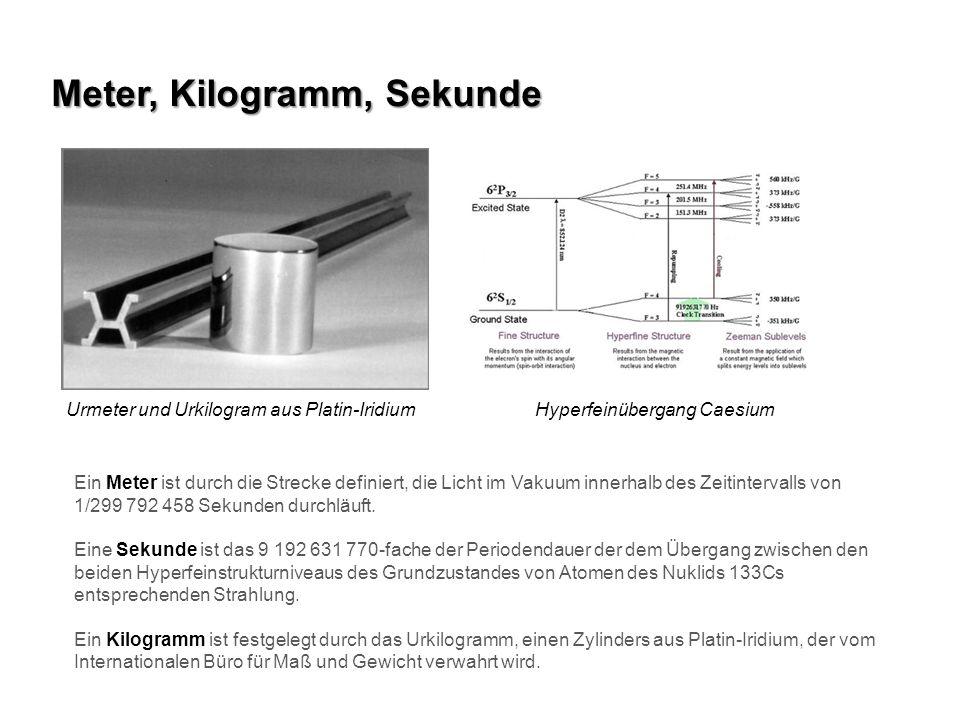 Urmeter und Urkilogram aus Platin-IridiumHyperfeinübergang Caesium Meter, Kilogramm, Sekunde Ein Meter ist durch die Strecke definiert, die Licht im V