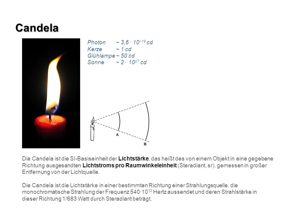 Candela Die Candela ist die SI-Basiseinheit der Lichtstärke, das heißt des von einem Objekt in eine gegebene Richtung ausgesandten Lichtstroms pro Rau