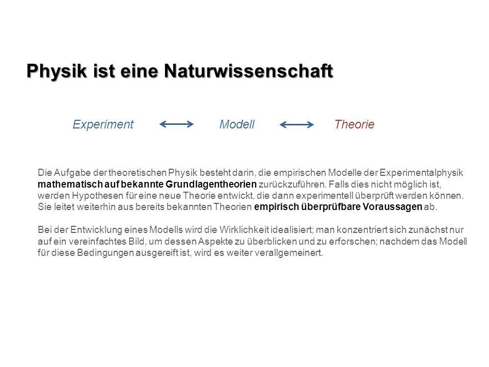 Physik ist eine Naturwissenschaft Experiment Modell Theorie Die Aufgabe der theoretischen Physik besteht darin, die empirischen Modelle der Experiment