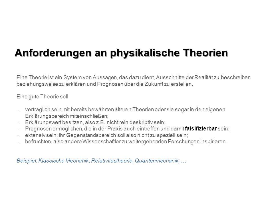 Anforderungen an physikalische Theorien Eine Theorie ist ein System von Aussagen, das dazu dient, Ausschnitte der Realität zu beschreiben beziehungswe