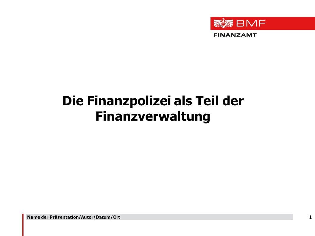 1 Die Finanzpolizei als Teil der Finanzverwaltung Name der Präsentation/Autor/Datum/Ort