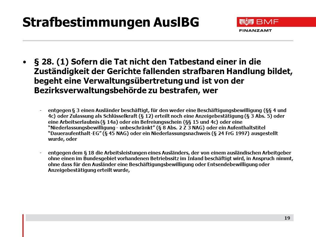 Strafbestimmungen AuslBG § 28.