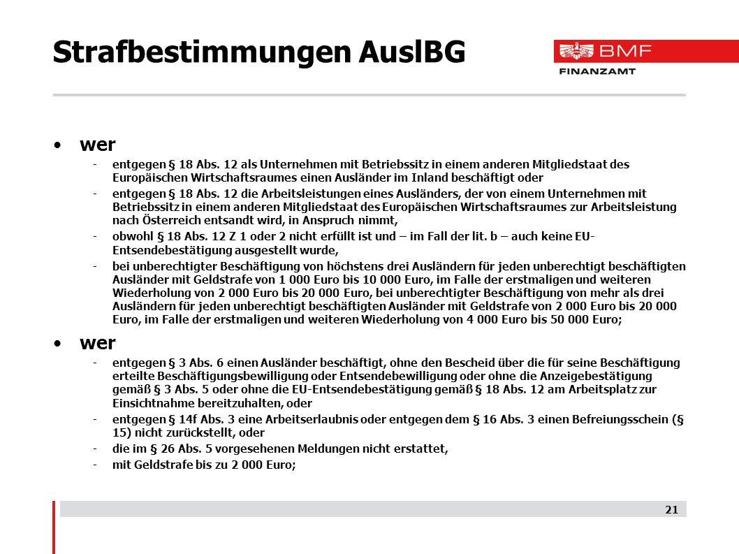 Strafbestimmungen AuslBG wer -entgegen § 18 Abs.