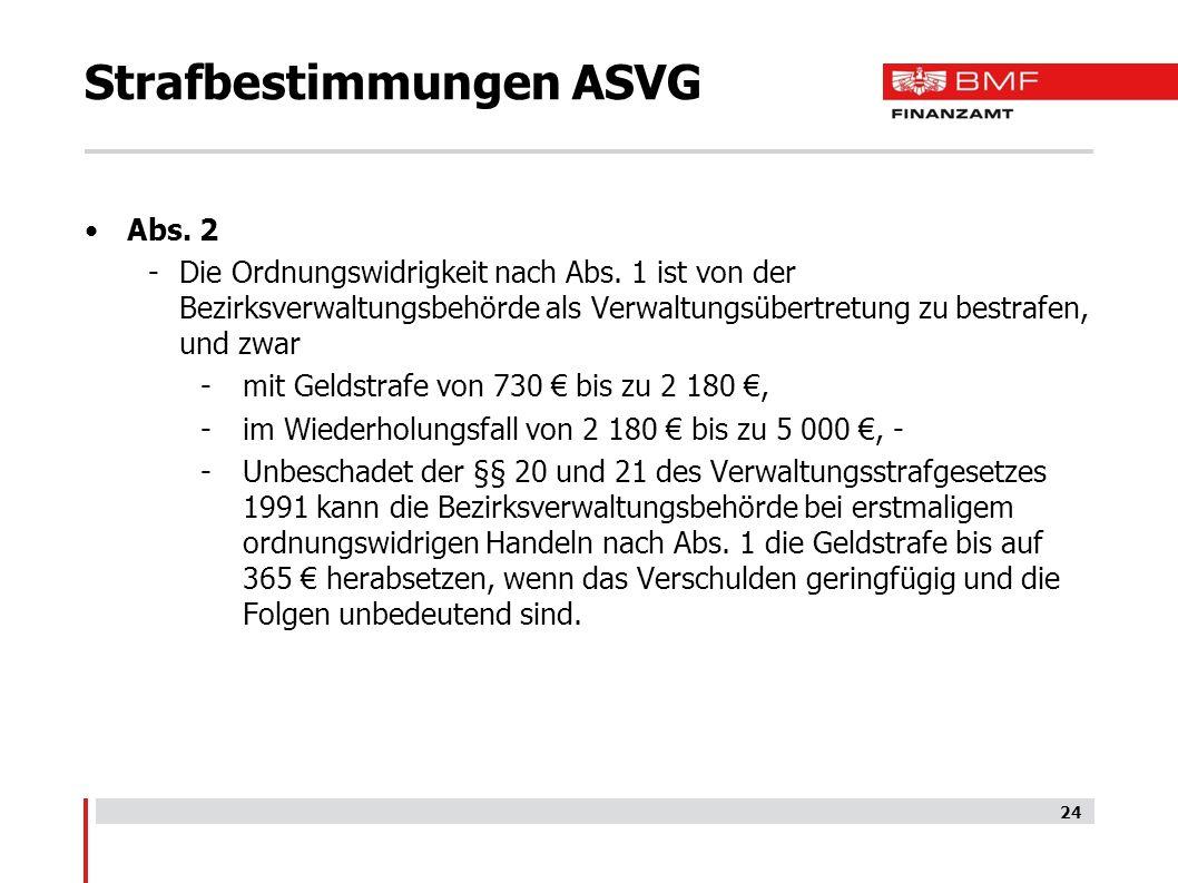 Strafbestimmungen ASVG Abs.2 -Die Ordnungswidrigkeit nach Abs.