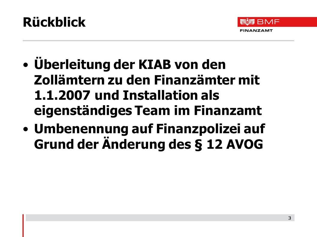 Rückblick Überleitung der KIAB von den Zollämtern zu den Finanzämter mit 1.1.2007 und Installation als eigenständiges Team im Finanzamt Umbenennung auf Finanzpolizei auf Grund der Änderung des § 12 AVOG 3
