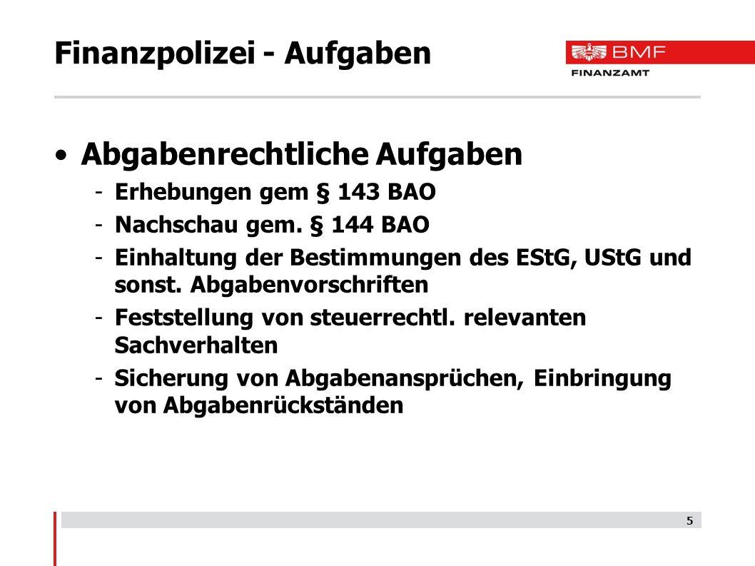 Finanzpolizei - Aufgaben Abgabenrechtliche Aufgaben -Erhebungen gem § 143 BAO -Nachschau gem.
