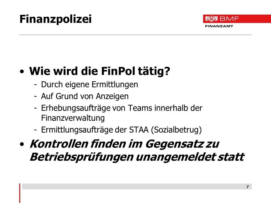 Finanzpolizei Wie wird die FinPol tätig.