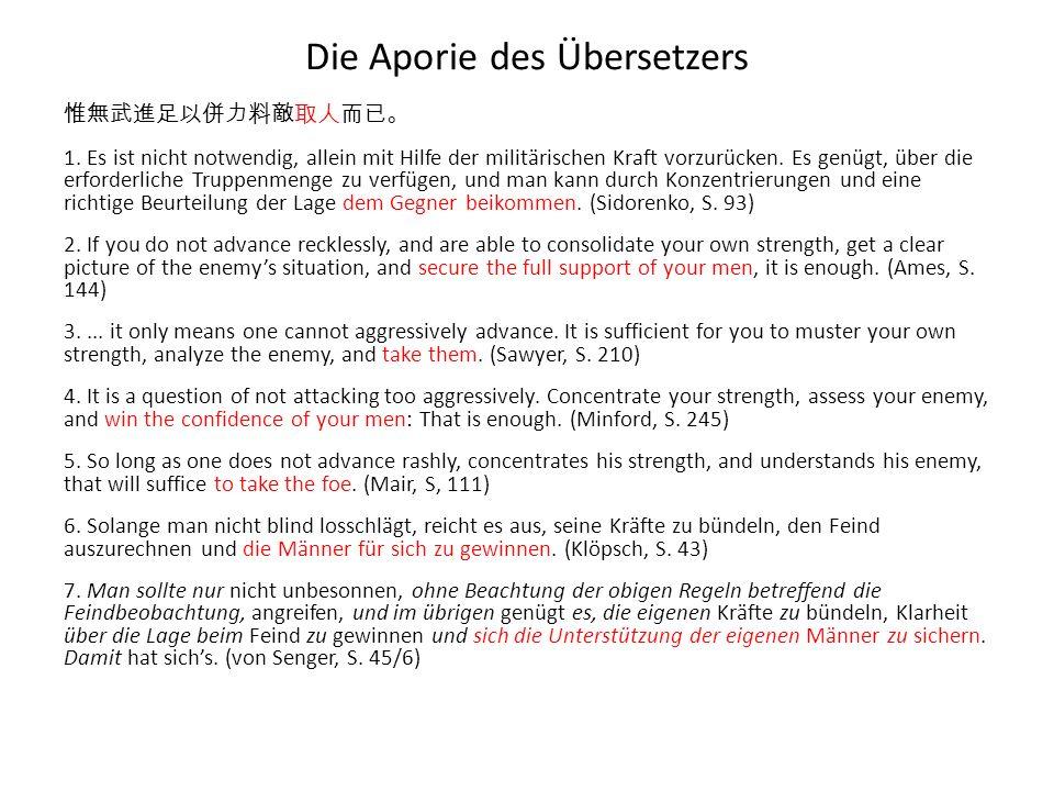 Die Aporie des Übersetzers 1. Es ist nicht notwendig, allein mit Hilfe der militärischen Kraft vorzurücken. Es genügt, über die erforderliche Truppenm