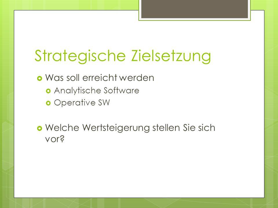 Strategische Zielsetzung Was soll erreicht werden Analytische Software Operative SW Welche Wertsteigerung stellen Sie sich vor?