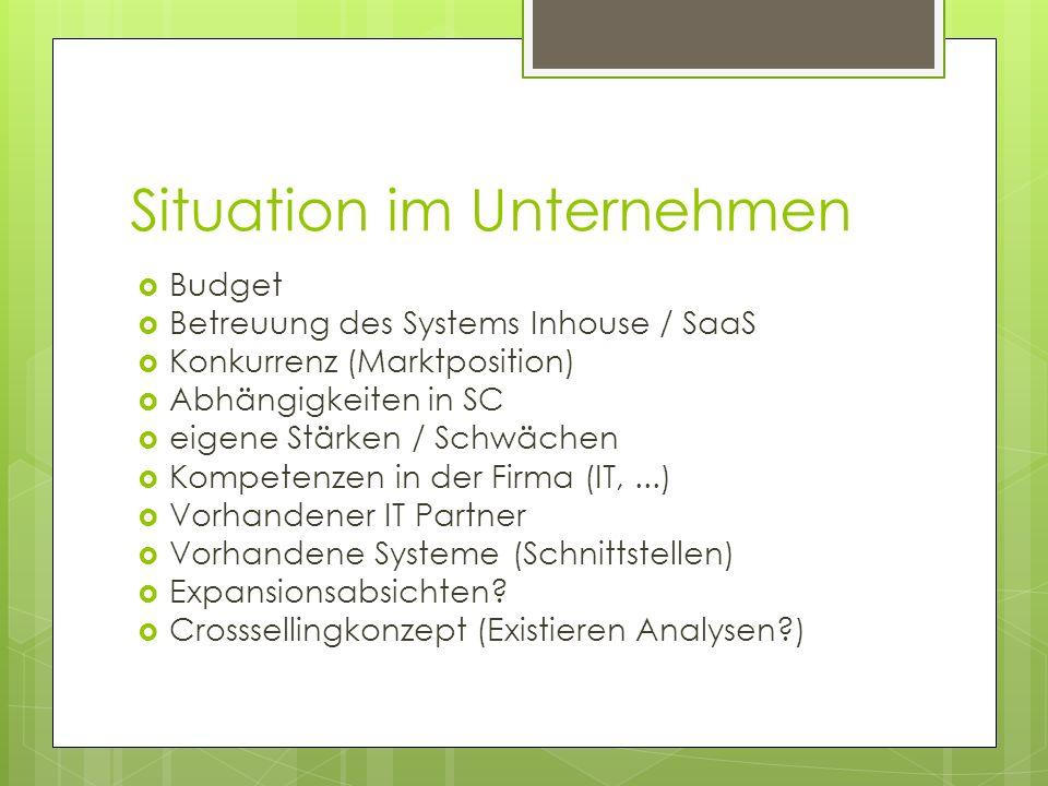 Situation im Unternehmen Budget Betreuung des Systems Inhouse / SaaS Konkurrenz (Marktposition) Abhängigkeiten in SC eigene Stärken / Schwächen Kompet