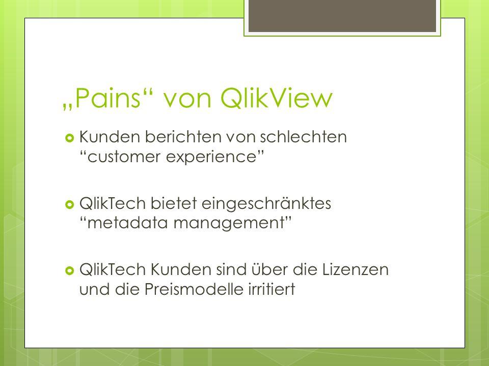 Pains von QlikView Kunden berichten von schlechten customer experience QlikTech bietet eingeschränktes metadata management QlikTech Kunden sind über d