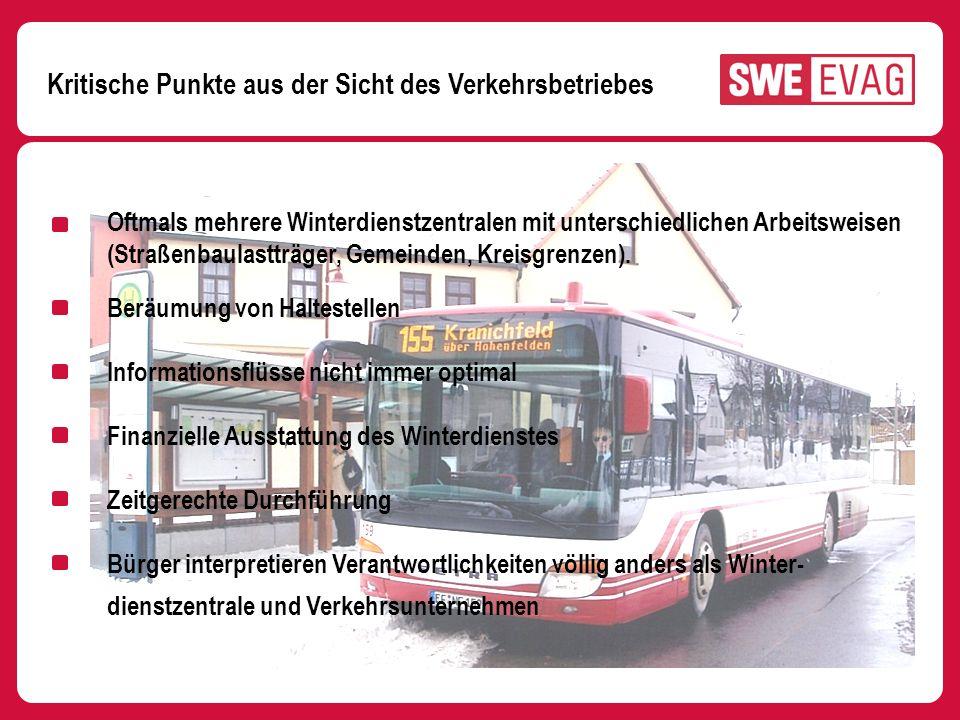 Kritische Punkte aus der Sicht des Verkehrsbetriebes Oftmals mehrere Winterdienstzentralen mit unterschiedlichen Arbeitsweisen (Straßenbaulastträger,