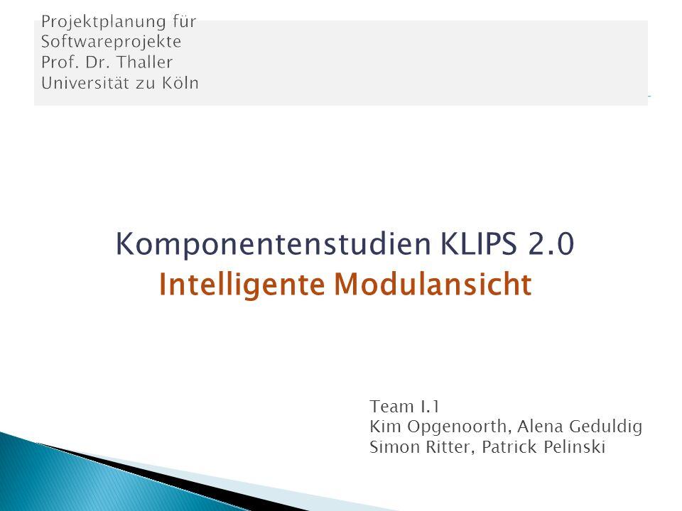 Komponentenstudien KLIPS 2.0 Intelligente Modulansicht Team I.1 Kim Opgenoorth, Alena Geduldig Simon Ritter, Patrick Pelinski