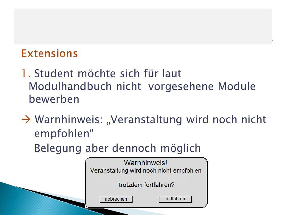 Extensions 1. Student möchte sich für laut Modulhandbuch nicht vorgesehene Module bewerben Warnhinweis: Veranstaltung wird noch nicht empfohlen Belegu