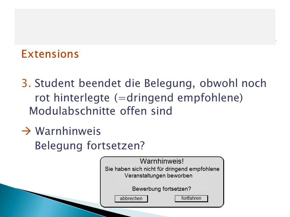 Extensions 3. Student beendet die Belegung, obwohl noch rot hinterlegte (=dringend empfohlene) Modulabschnitte offen sind Warnhinweis Belegung fortset