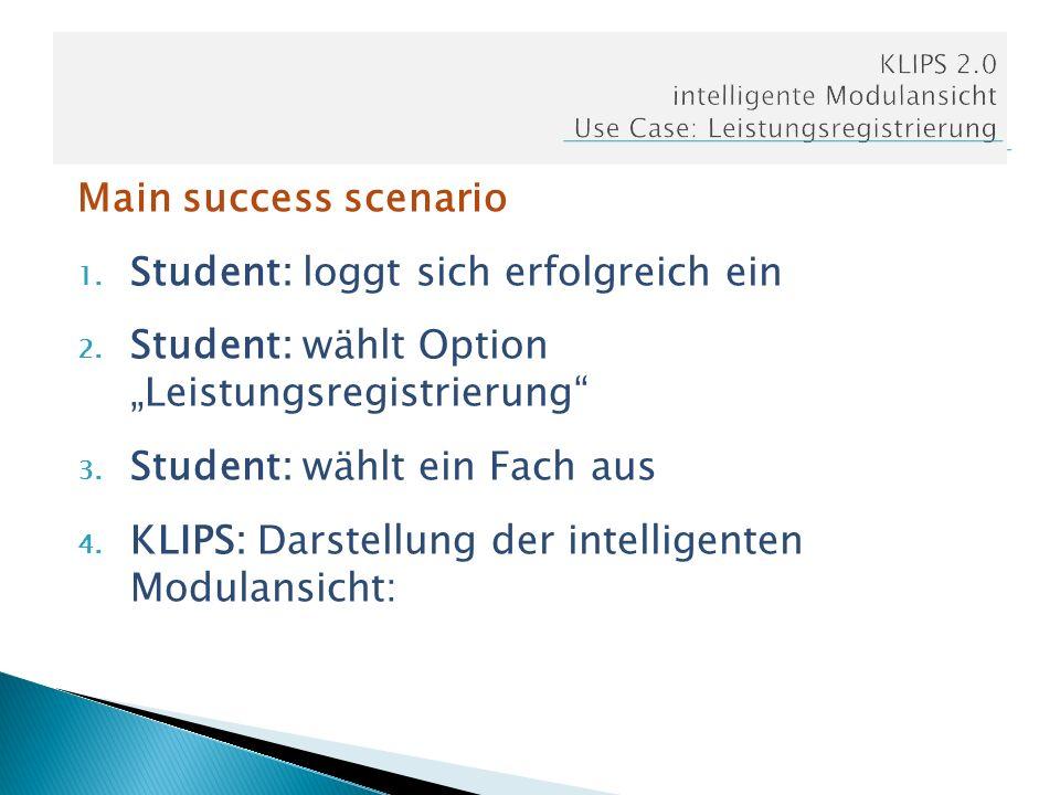 Main success scenario 1. Student: loggt sich erfolgreich ein 2. Student: wählt Option Leistungsregistrierung 3. Student: wählt ein Fach aus 4. KLIPS: