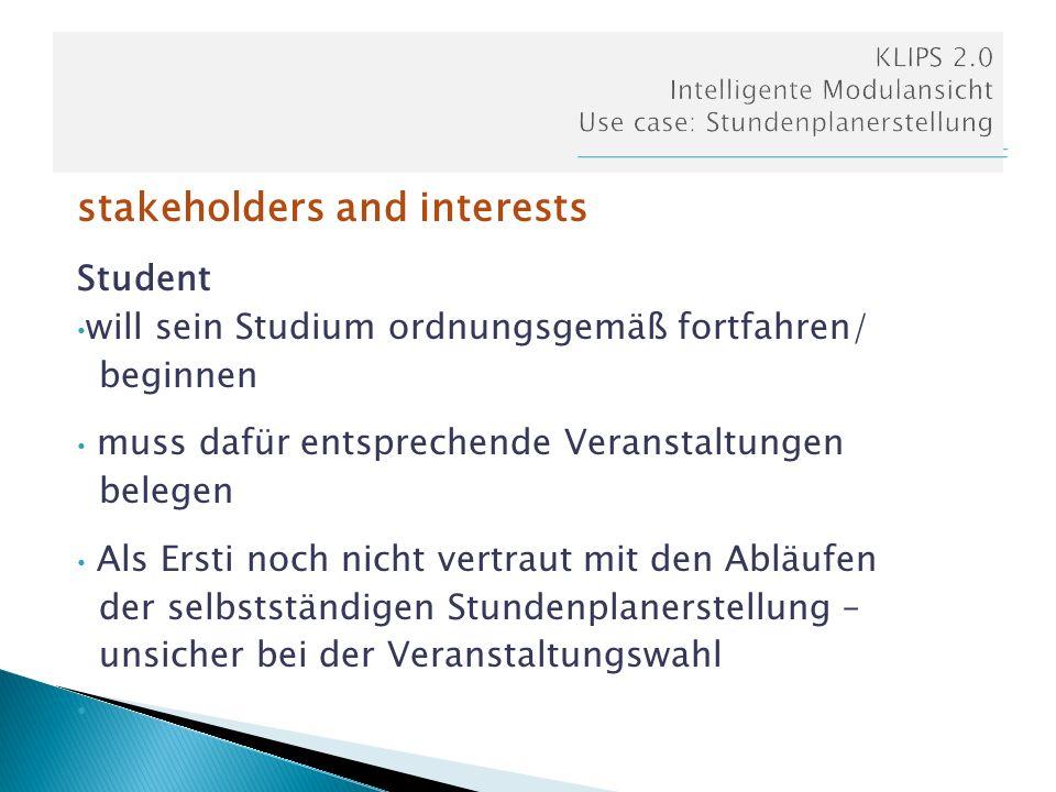 stakeholders and interests Student will sein Studium ordnungsgemäß fortfahren/ beginnen muss dafür entsprechende Veranstaltungen belegen Als Ersti noc