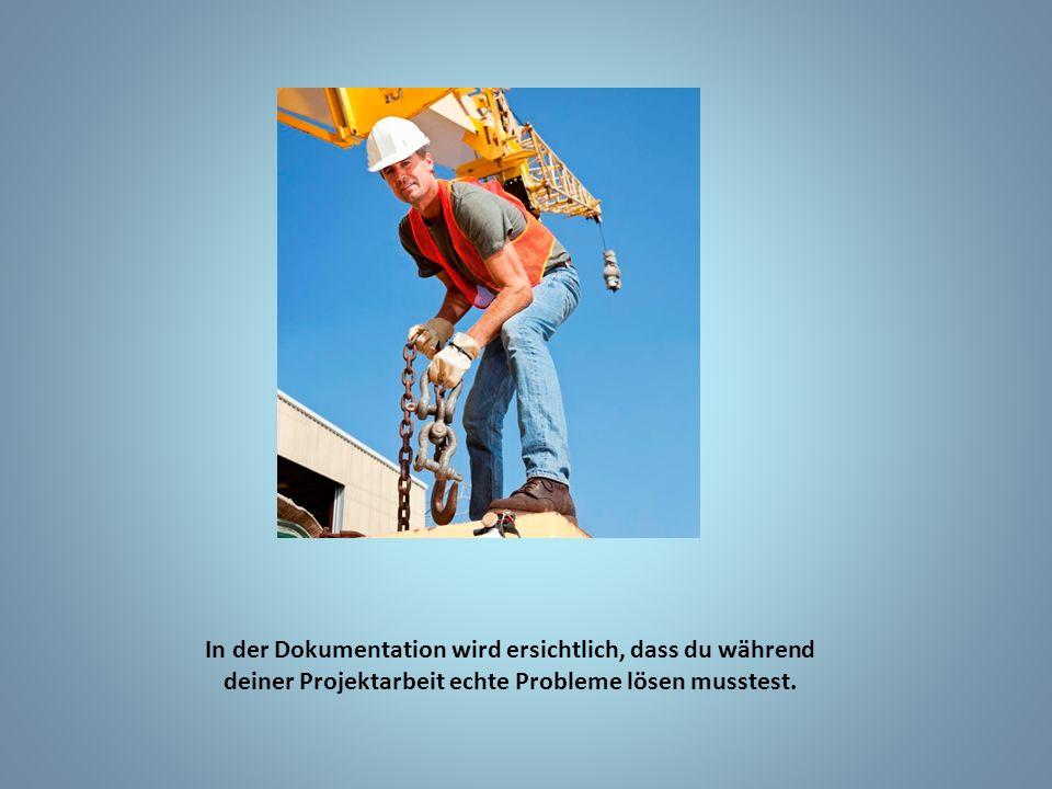 In der Dokumentation wird ersichtlich, dass du während deiner Projektarbeit echte Probleme lösen musstest.