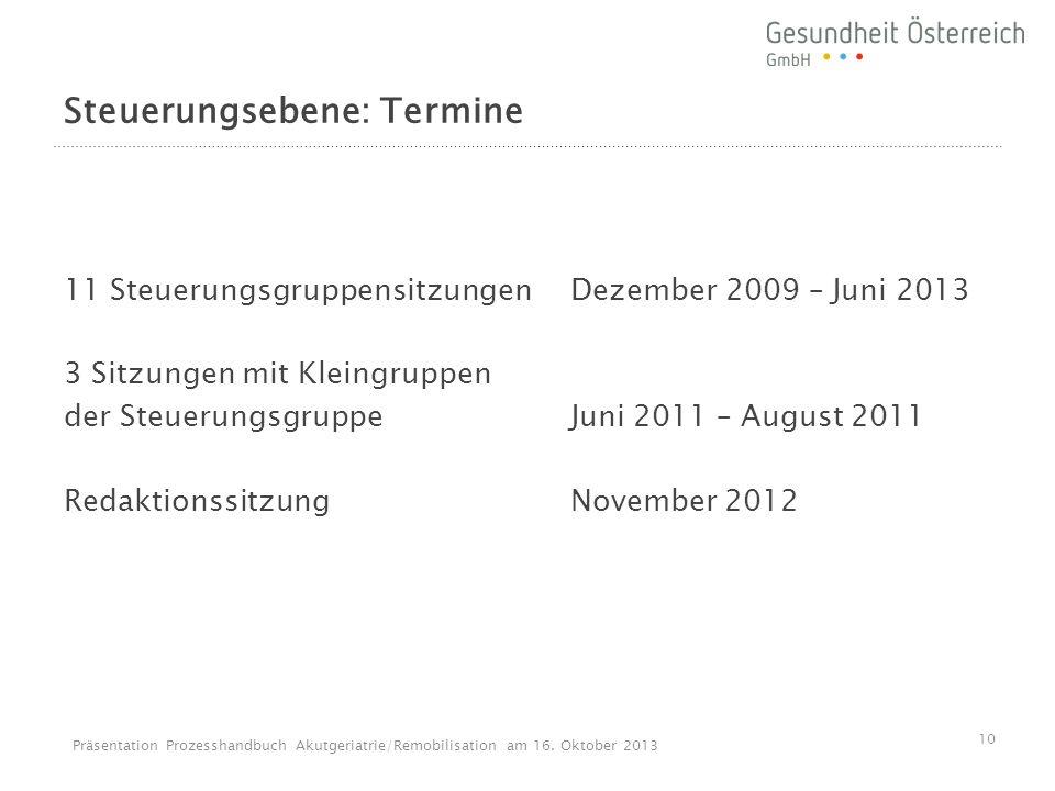 Steuerungsebene: Termine 11 Steuerungsgruppensitzungen Dezember 2009 – Juni 2013 3 Sitzungen mit Kleingruppen der SteuerungsgruppeJuni 2011 – August 2