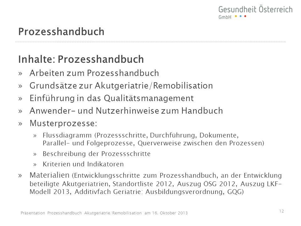 Prozesshandbuch Inhalte: Prozesshandbuch »Arbeiten zum Prozesshandbuch »Grundsätze zur Akutgeriatrie/Remobilisation »Einführung in das Qualitätsmanage