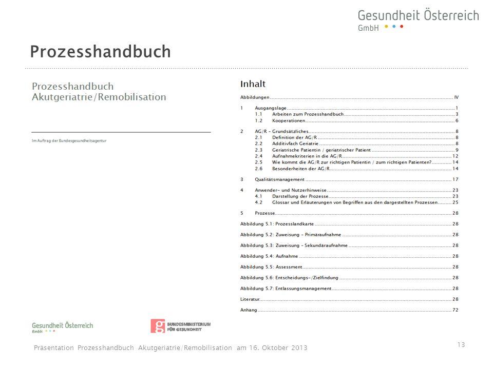 Prozesshandbuch Präsentation Prozesshandbuch Akutgeriatrie/Remobilisation am 16. Oktober 2013 13