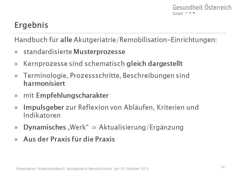Ergebnis Handbuch für alle Akutgeriatrie/Remobilisation-Einrichtungen: »standardisierte Musterprozesse »Kernprozesse sind schematisch gleich dargestel