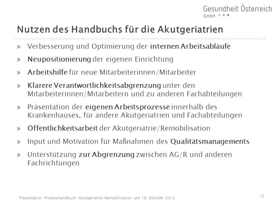 Nutzen des Handbuchs für die Akutgeriatrien »Verbesserung und Optimierung der internen Arbeitsabläufe »Neupositionierung der eigenen Einrichtung »Arbe