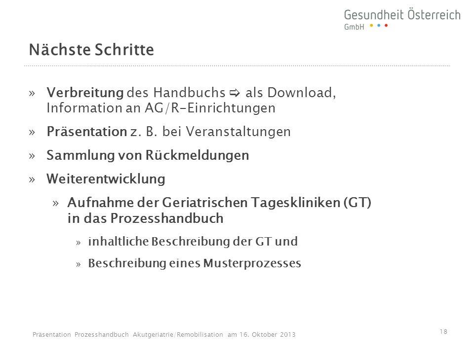 Nächste Schritte »Verbreitung des Handbuchs als Download, Information an AG/R-Einrichtungen »Präsentation z. B. bei Veranstaltungen »Sammlung von Rück