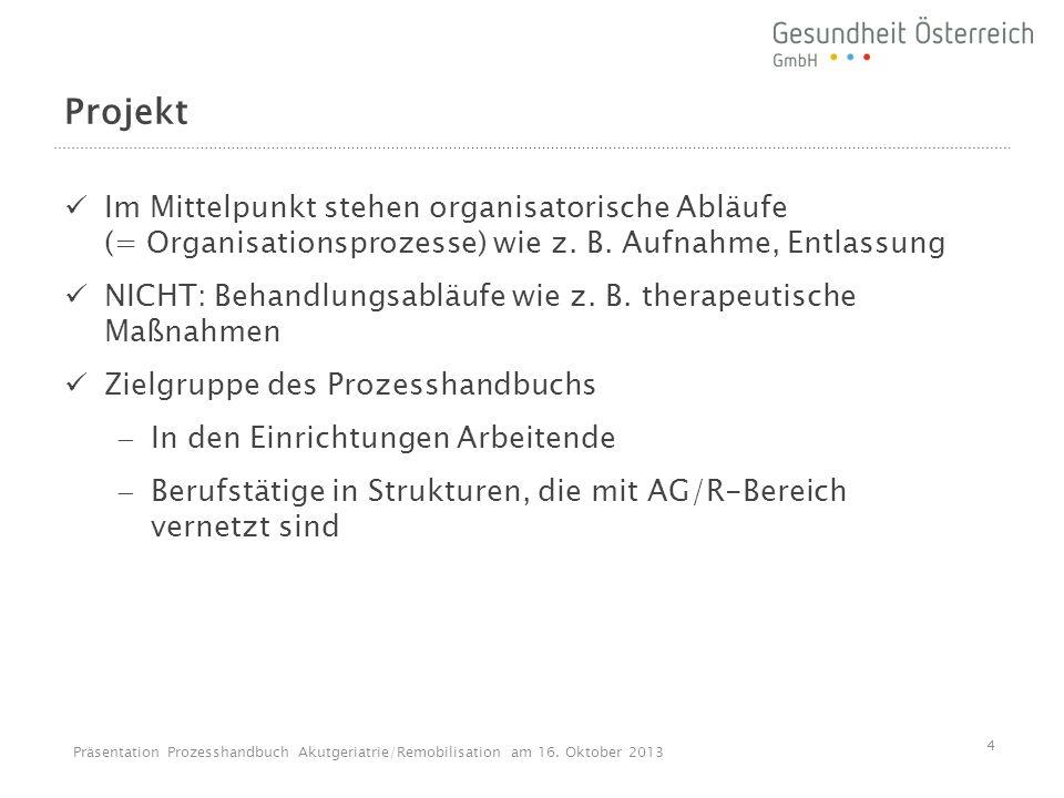 Projekt Im Mittelpunkt stehen organisatorische Abläufe (= Organisationsprozesse) wie z. B. Aufnahme, Entlassung NICHT: Behandlungsabläufe wie z. B. th