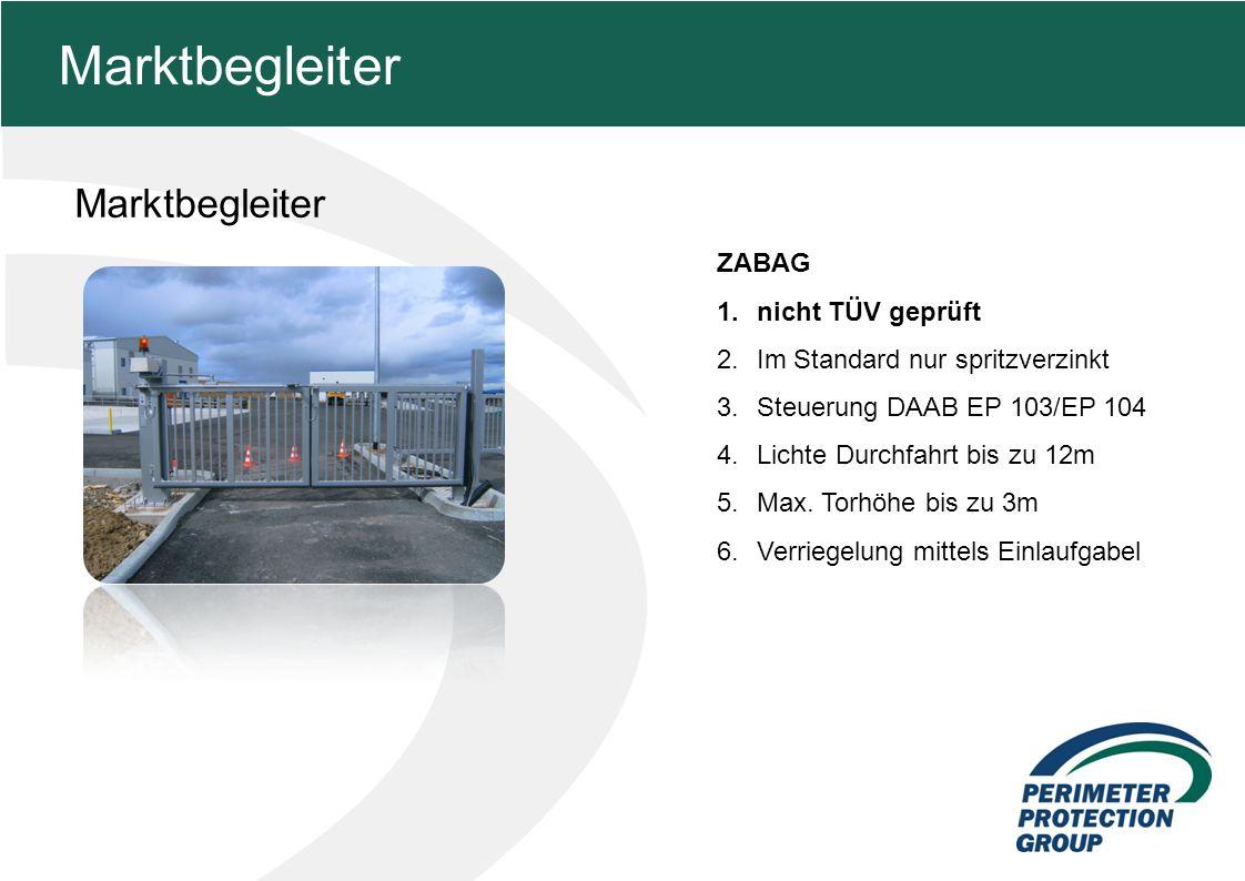 MFZ KONZEPT - Zielsetzung Marktbegleiter 11 Marktbegleiter ZABAG 1.nicht TÜV geprüft 2.Im Standard nur spritzverzinkt 3.Steuerung DAAB EP 103/EP 104 4.Lichte Durchfahrt bis zu 12m 5.Max.