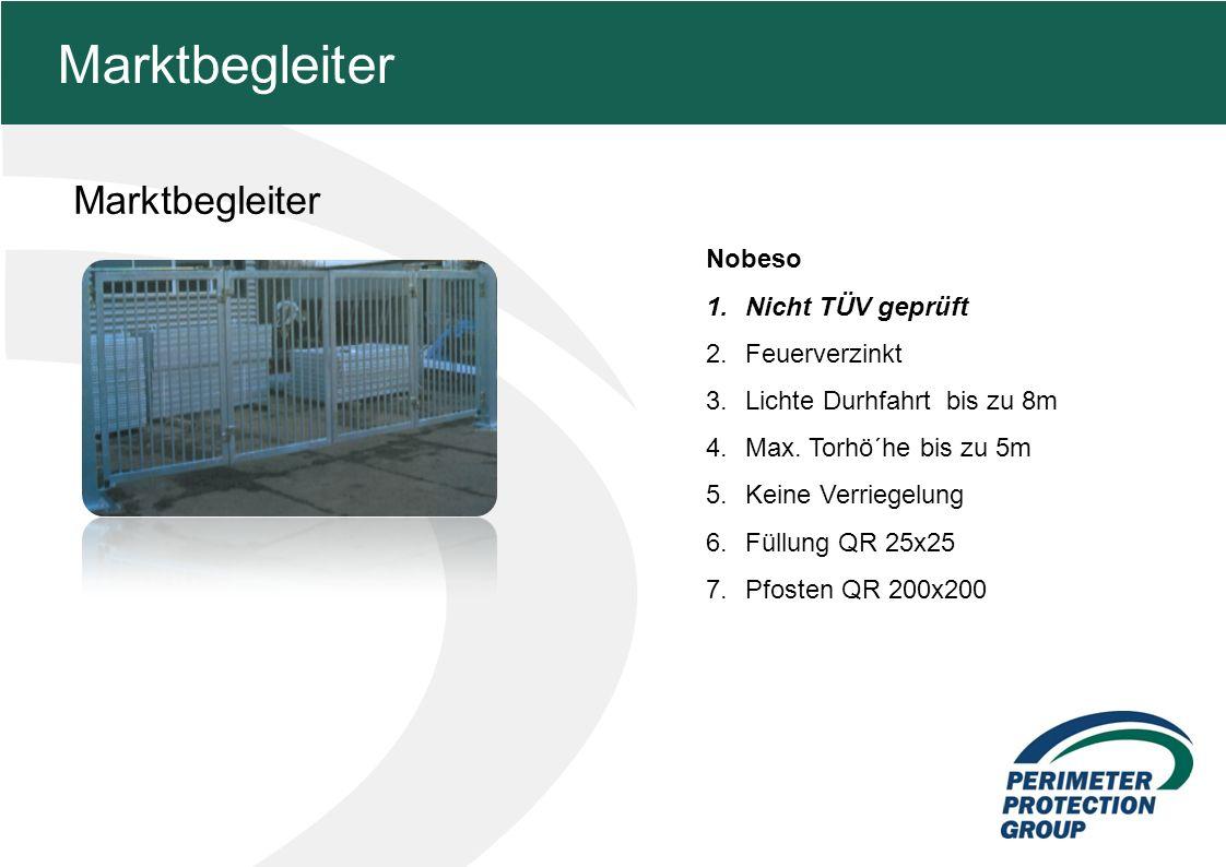 MFZ KONZEPT - Zielsetzung Marktbegleiter 14 Marktbegleiter Nobeso 1.Nicht TÜV geprüft 2.Feuerverzinkt 3.Lichte Durhfahrt bis zu 8m 4.Max.