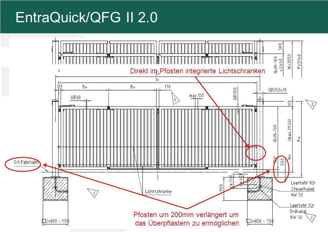 MFZ KONZEPT - Zielsetzung 4 EntraQuick/QFG II 2.0 Pfosten um 200mm verlängert um das Überpflastern zu ermöglichen Direkt im Pfosten integrierte Lichtschranken