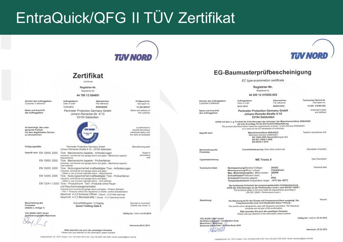 EntraQuick/QFG II TÜV Zertifikat 8