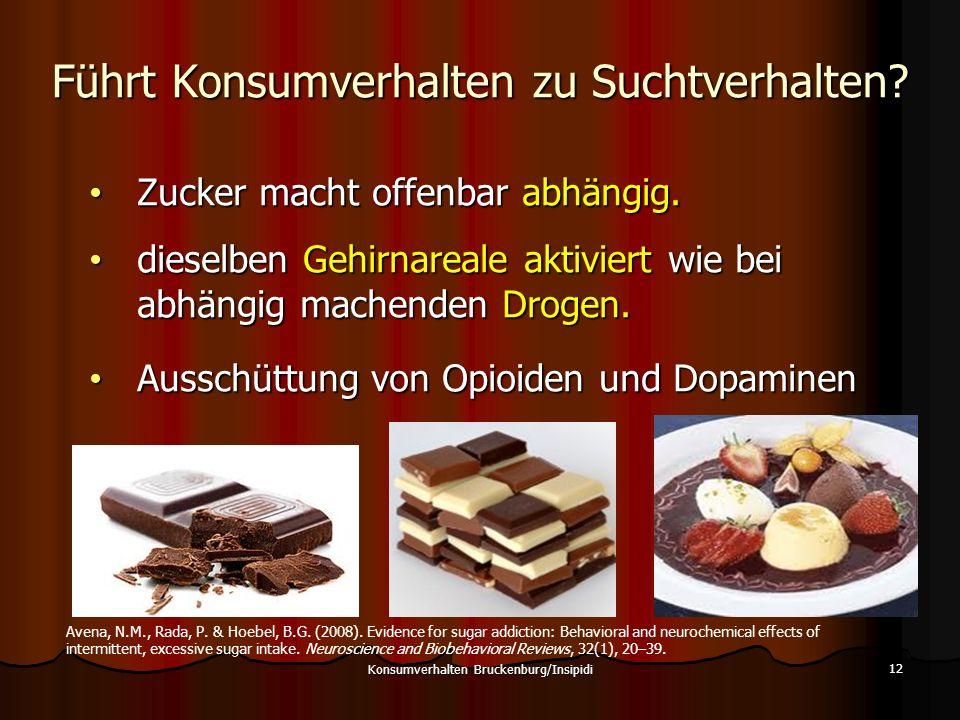 Führt Konsumverhalten zu Suchtverhalten? Konsumverhalten Bruckenburg/Insipidi 12 Zucker macht offenbar abhängig. Zucker macht offenbar abhängig. diese