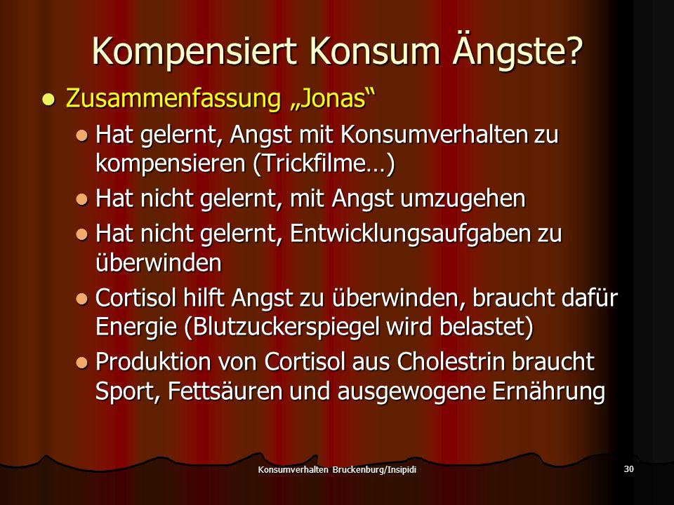 Kompensiert Konsum Ängste? Zusammenfassung Jonas Zusammenfassung Jonas Hat gelernt, Angst mit Konsumverhalten zu kompensieren (Trickfilme…) Hat gelern