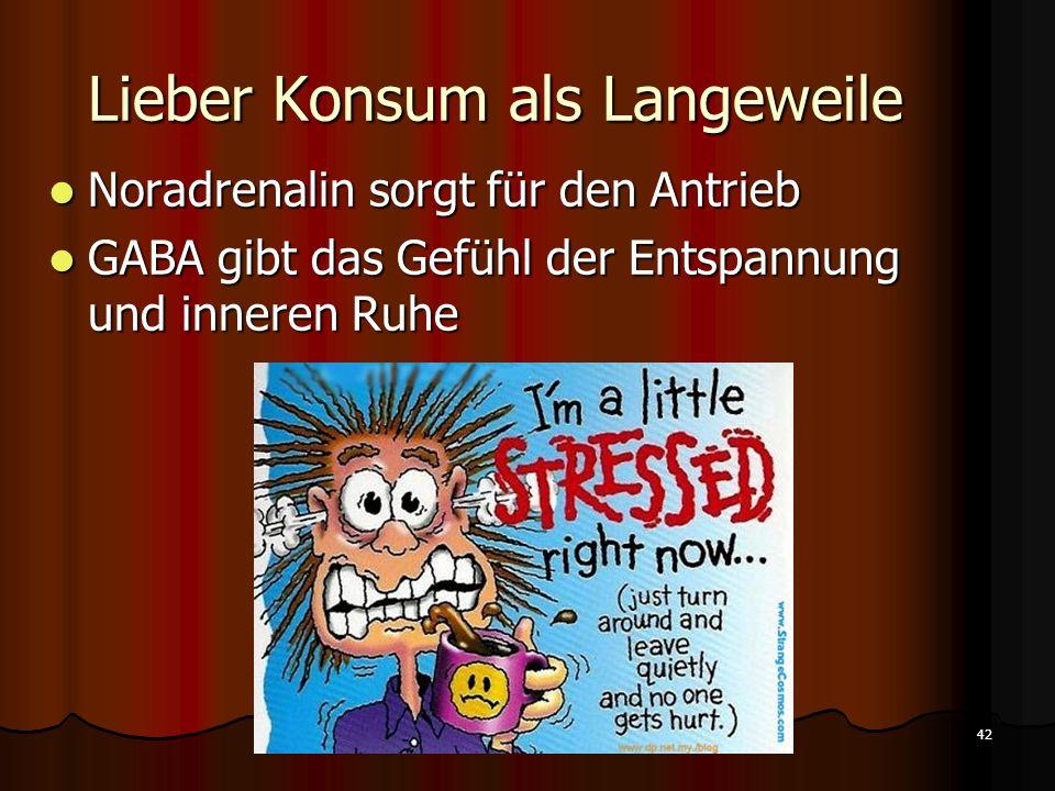Lieber Konsum als Langeweile 42 Konsumverhalten Bruckenburg/Insipidi Noradrenalin sorgt für den Antrieb Noradrenalin sorgt für den Antrieb GABA gibt d