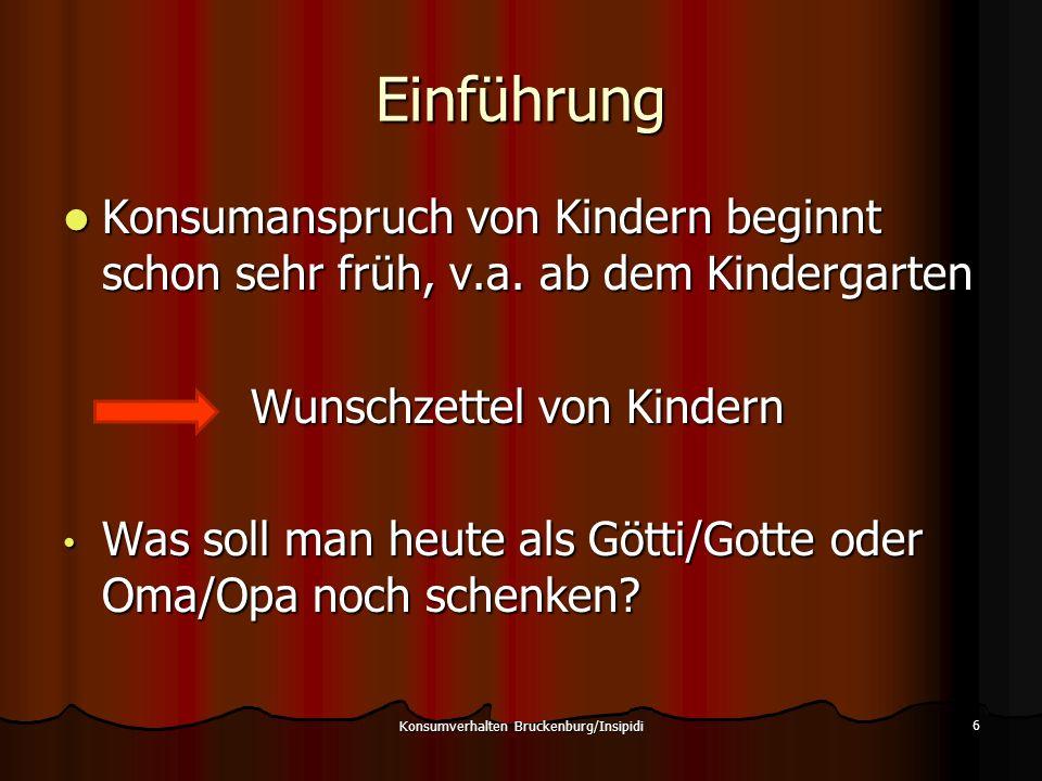 Einführung Konsumanspruch von Kindern beginnt schon sehr früh, v.a. ab dem Kindergarten Konsumanspruch von Kindern beginnt schon sehr früh, v.a. ab de