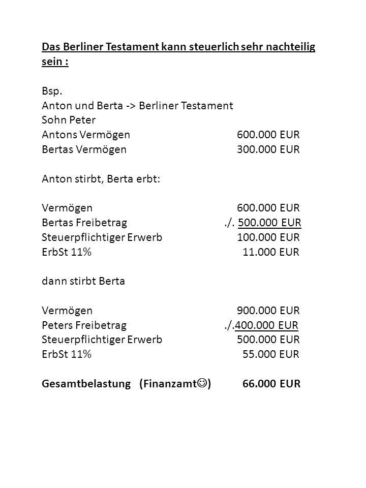 Das Berliner Testament kann steuerlich sehr nachteilig sein : Bsp. Anton und Berta -> Berliner Testament Sohn Peter Antons Vermögen600.000 EUR Bertas