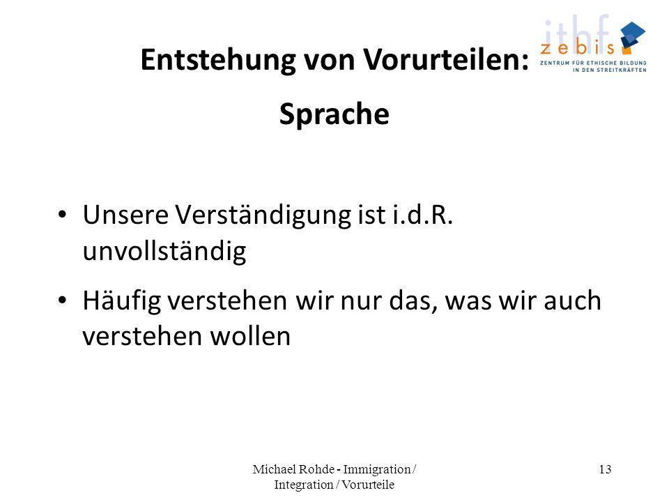 Entstehung von Vorurteilen: Sprache Unsere Verständigung ist i.d.R. unvollständig Häufig verstehen wir nur das, was wir auch verstehen wollen Michael