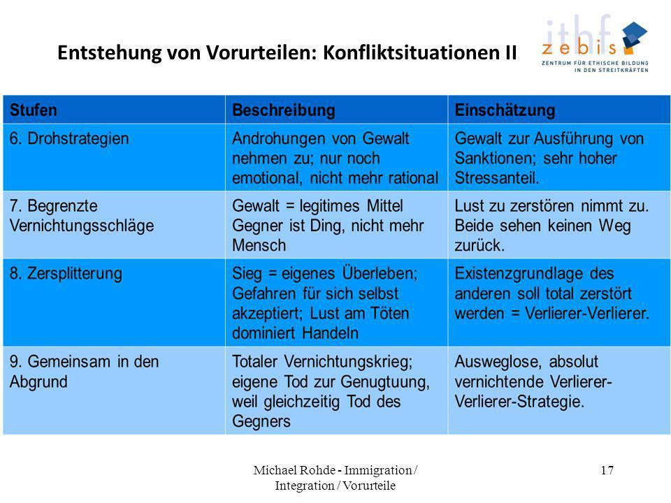 Entstehung von Vorurteilen: Konfliktsituationen II Michael Rohde - Immigration / Integration / Vorurteile 17