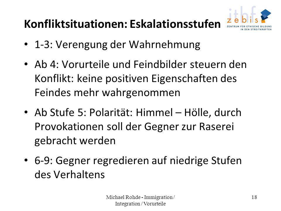 Konfliktsituationen: Eskalationsstufen 1-3: Verengung der Wahrnehmung Ab 4: Vorurteile und Feindbilder steuern den Konflikt: keine positiven Eigenscha