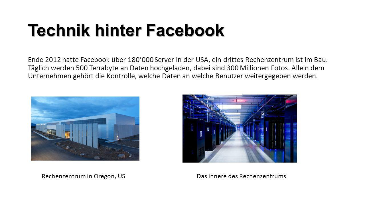 Technik hinter Facebook Ende 2012 hatte Facebook über 180000 Server in der USA, ein drittes Rechenzentrum ist im Bau. Täglich werden 500 Terrabyte an