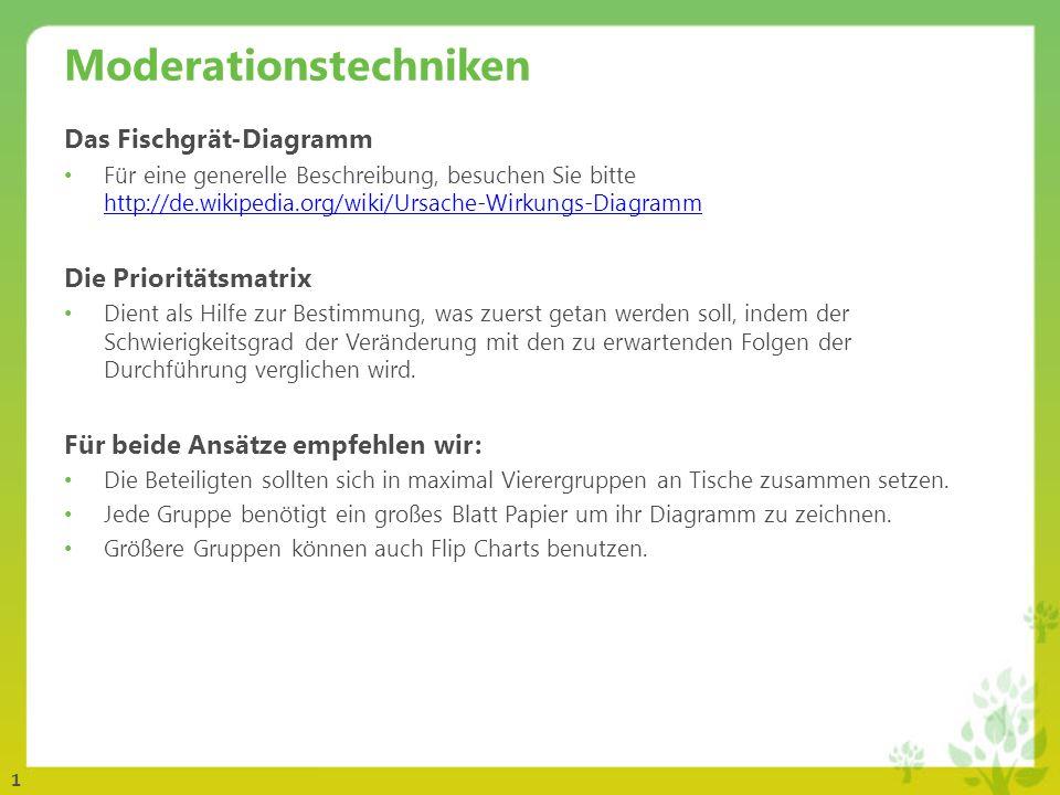 1 Moderationstechniken Das Fischgrät-Diagramm Für eine generelle Beschreibung, besuchen Sie bitte http://de.wikipedia.org/wiki/Ursache-Wirkungs-Diagra