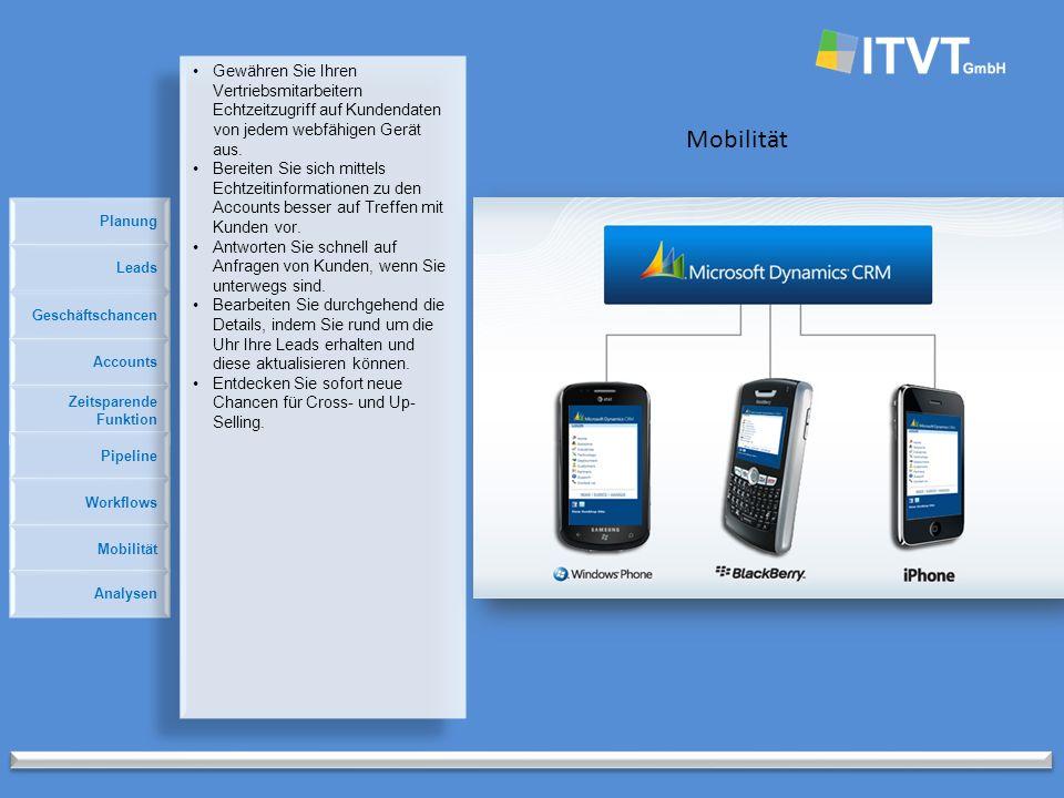 Planung Mobilität Geschäftschancen Accounts Zeitsparende Funktion Pipeline Leads Workflows Mobilität Analysen Gewähren Sie Ihren Vertriebsmitarbeitern Echtzeitzugriff auf Kundendaten von jedem webfähigen Gerät aus.